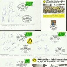 Coleccionismo deportivo: ALEMANIA 1994 TARJETA + 4 SOBRES PRIMER DIA FUTBOL- 85 AÑOS BORUSSIA DORTMUND- AUTOGRAFOS ORIGINALES. Lote 48846644