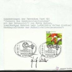 Coleccionismo deportivo: ALEMANIA 1998 TARJETA PRIMER DIA FUTBOL KAISERLAUTERN FC- AUTOGRAFO ORIGINAL LEYENDA FRITZ WALTER. Lote 48846866