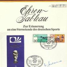 Coleccionismo deportivo: SOBRE PRIMER DÍA CIRCULACIÓN COPA MUNDIAL DE FUTBOL ALEMANIA 74- AUTOGRAFO FRANZ BECKENBAUER- FDC. Lote 50329527