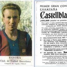 Coleccionismo deportivo: FIRMA ORIGINAL DE ESTANISLAO BASORA FC BARCELONA SOBRE UNA FOTOCOPIA DE UNA TARJETA SUYA. Lote 57678422