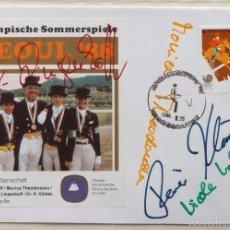 Coleccionismo deportivo: SOBRE PRIMER DIA CIRCULACION OLIMPIADAS SEUL 88- AUTOGRAFO EQUIPO EQUITACION- MEDALLA DE ORO - FDC. Lote 57815739