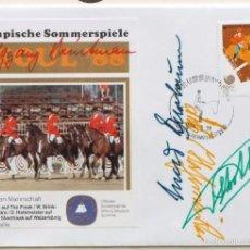 Coleccionismo deportivo: SOBRE PRIMER DIA CIRCULACION OLIMPIADAS SEUL 88- AUTOGRAFO EQUIPO EQUITACION- MEDALLA DE ORO - FDC. Lote 57815744