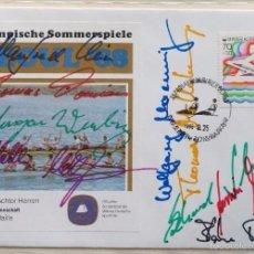 Coleccionismo deportivo: SOBRE PRIMER DIA CIRCULACION OLIMPIADAS SEUL 88- AUTOGRAFO EQUIPO DE REMO- MEDALLA DE ORO - FDC. Lote 57815759