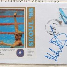 Coleccionismo deportivo: SOBRE PRIMER DIA CIRCULACION OLIMPIADAS SEUL 88- AUTOGRAFO MICHAEL GROB NATACION MEDALLA DE ORO- FDC. Lote 57815774