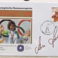 Coleccionismo deportivo: SOBRE PRIMER DIA CIRCULACION OLIMPIADAS SEUL 88- AUTOGRAFO SILVIA SPERBER- TIRO- MEDALLA DE ORO- FDC. Lote 57815783