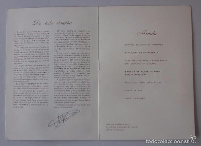 Coleccionismo deportivo: CARTA CON AUTOGRAFO DE LA CENA HOMENAJE A ANTONIO RAMALLETS - C.F. BARCELONA AÑO 1962 - Foto 2 - 58012288