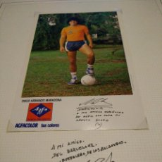 Coleccionismo deportivo: POSTAL MARADONA AUTOGRAFO FUTBOL CLUB FC BARCELONA CF BARÇA FC FIRMA ORIGINAL. Lote 58271359