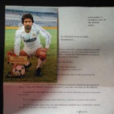 Coleccionismo deportivo: FOTOGRAFIA DE JUANITO JUNTO CON HOJA PUBLICITARIA FIRMADAS AMBAS PROMOCIONANDO SU TIENDA DEPORTES . Lote 89282464