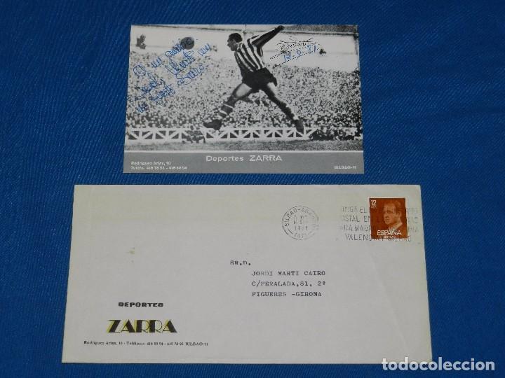(AUT) ATH BILBAO - AUTOGRAFO ORIGINAL DE TELMO ZARRA 1981 , SOBRE + PROPAGANDA AUTOGRAFIADA (Coleccionismo Deportivo - Documentos de Deportes - Autógrafos)