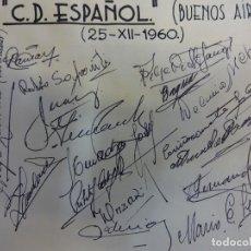 Coleccionismo deportivo: C.D. ESPAÑOL (BUENOS AIRES). AUTÓGRAFOS ORIGINALES PLANTILLA 1960. Lote 99727327