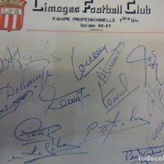 Collectionnisme sportif: LIMOGES FOOTBALL CLUB. EQUIPE PROFESSIONELLE 1ERE DIV. SAISON 1960-61. SIGNATURES ORIGINALES. Lote 99963219