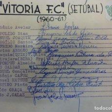 Coleccionismo deportivo: VITORIA F.C. (SETÚBAL). EQUIPE TEMPORADA 1960-61. ASSINATURAS ORIGINAIS. Lote 99975043