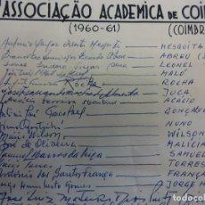 Coleccionismo deportivo: ASSOCIAÇAO ACADEMICA DE COIMBRA.(COIMBRA). EQUIPE TEMPORADA 1960-61. ASSINATURAS ORIGINAIS. Lote 99977747