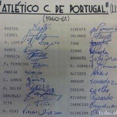 Coleccionismo deportivo: ATLETICO C. DE PORTUGAL.(LISBOA). EQUIPE TEMPORADA 1960-61. ASSINATURAS ORIGINAIS. Lote 99977939