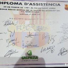 Coleccionismo deportivo: DIPLOMA DE ASISTENCIA, 28 FEB DEL 1991 CON LA FIRMA DE LOS JUGADORES. . Lote 103803215