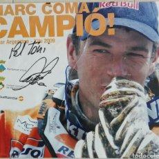 Coleccionismo deportivo: POSTER MARC COMA DAKAR 2009 FIRMADO Y ENMARCADO PINZAS 60 X 50. Lote 232438045