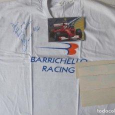 Coleccionismo deportivo: RUBENS BARRICHELLO SIGNED FORMULA 1 T SHIRT, CARD. Lote 109412487