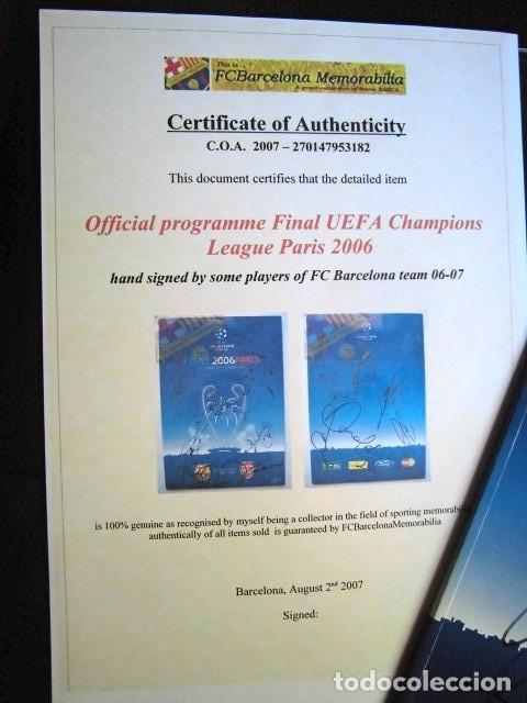 Coleccionismo deportivo: FCBARCELONA PROGRAMA FIRMADO PLANTILLA BARÇA FINAL PARIS 2006 CERTIFICADO ORIGINAL FUTBOL CHAMPIONS - Foto 2 - 114338047