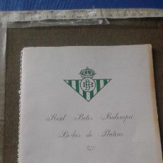 Coleccionismo deportivo: REAL BETIS BALOMPIE - BODAS DE PLATINO 1982 - MINUTA CENA CONMEMORATIVA - FIRMADA POR JUGADORES. Lote 125370551