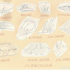 Coleccionismo deportivo: 12 AUTÓGRAFOS ORIGINALES: F.C.BARCELONA: ZUBIZARRETA, KOEMAN, BAKERO, STOICHKOV, NANDO, CLOS.... Lote 132383410