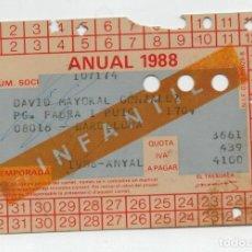 Coleccionismo deportivo: CARNET SOCIO F.C. BARCELONA 1988 - FIRMADO POR JOHAN CRUYFF -. Lote 135325006
