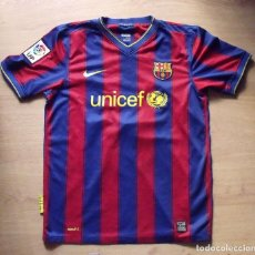 Coleccionismo deportivo: CAMISETA LEO MESSI F.C. BARCELONA UNICEF NIKE 2009-2010 XL NIÑO AUTÓGRAFO MARTÍN MONTOYA, CHIGRINSKY. Lote 138531342