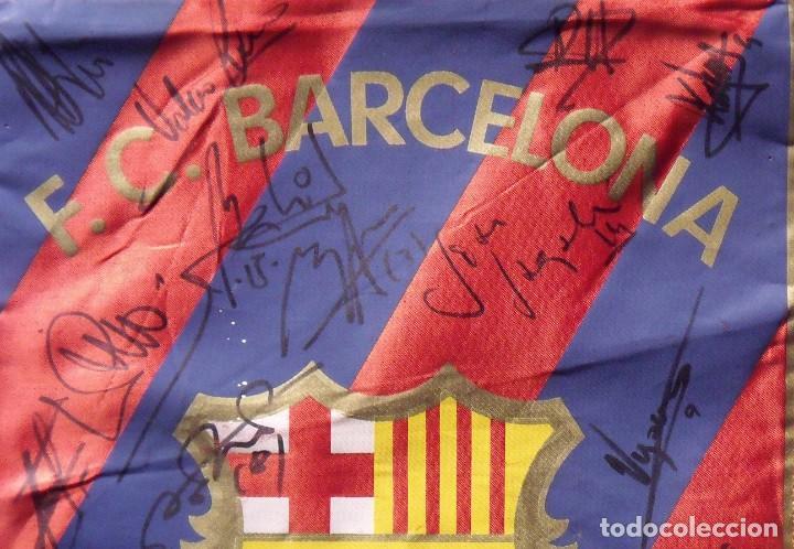 Coleccionismo deportivo: F.C.BARCELONA. BANDERÍN 19 AUTÓGRAFOS BALONMANO 1990-91. FIRMAS: VUJOVIC, URDANGARIN, MASIP, RIVERA. - Foto 5 - 145164238