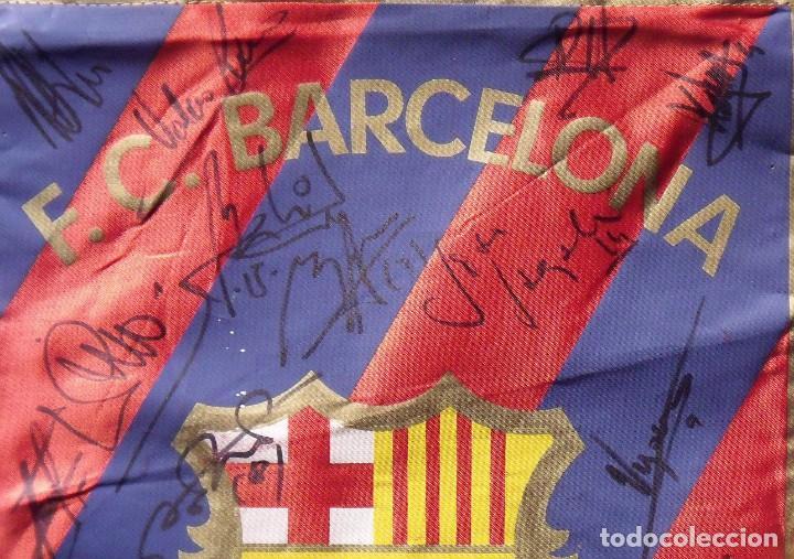 Coleccionismo deportivo: F.C.BARCELONA. BANDERÍN 19 AUTÓGRAFOS BALONMANO 1990-91. FIRMAS: VUJOVIC, URDANGARIN, MASIP, RIVERA. - Foto 6 - 145164238