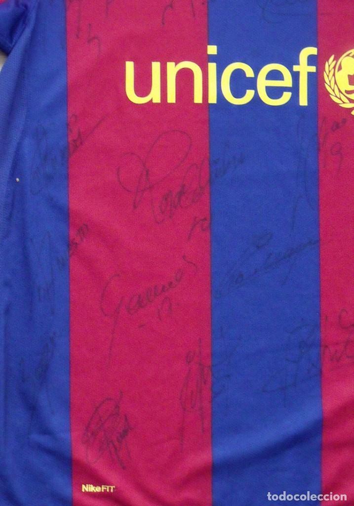 Coleccionismo deportivo: CAMISETA F.C. BARCELONA. 19 AUTÓGRAFOS PLANTILLA 2007-2008: RONALDINHO, ETOO, HENRY, ABIDAL, XAVI. - Foto 6 - 147334038