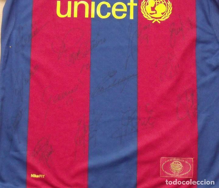 Coleccionismo deportivo: CAMISETA F.C. BARCELONA. 19 AUTÓGRAFOS PLANTILLA 2007-2008: RONALDINHO, ETOO, HENRY, ABIDAL, XAVI. - Foto 12 - 147334038