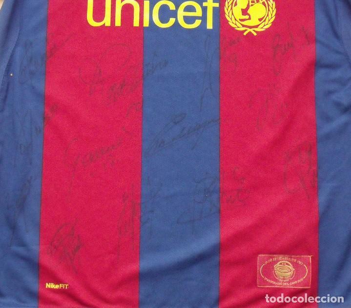 Coleccionismo deportivo: CAMISETA F.C. BARCELONA. 19 AUTÓGRAFOS PLANTILLA 2007-2008: RONALDINHO, ETOO, HENRY, ABIDAL, XAVI. - Foto 13 - 147334038