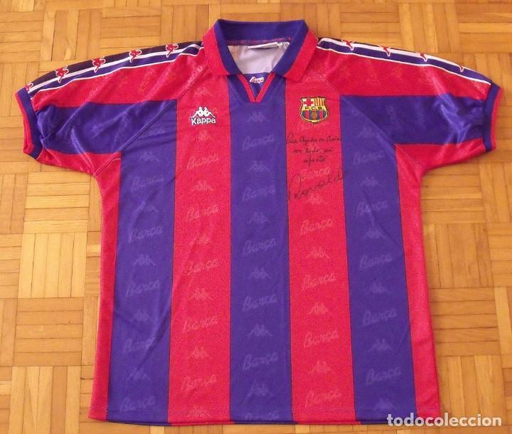 przyjazd kolejna szansa sklep internetowy Camiseta F.C. Barcelona. Autógrafo original, firma y dedicatoria de Ronaldo  Nazario. Kappa. Talla XL
