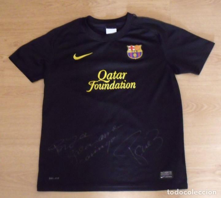 Coleccionismo deportivo: Camiseta F.C.Barcelona con firma, dedicatoria, autógrafo de Gerard Piqué. Nike. Talla L de niño. - Foto 2 - 160007358
