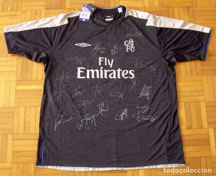 Coleccionismo deportivo: Camiseta Chelsea Duff 2004-2005 18 firmas autógrafos: Drogba Terry Lampard Robben Cole Mourinho Cech - Foto 2 - 165937694