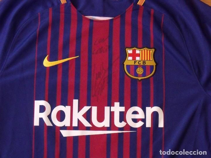 Coleccionismo deportivo: Camiseta F.C. Barcelona. Autógrafo, firma Luis Suárez. Campus 17 Nike. M. Rakuten. Lote 3 camisetas. - Foto 2 - 174140603