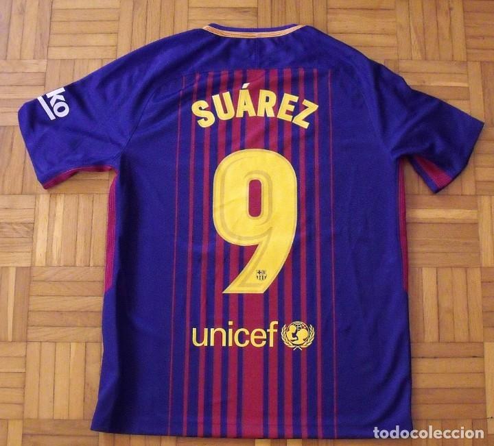 Coleccionismo deportivo: Camiseta F.C. Barcelona. Autógrafo, firma Luis Suárez. Campus 17 Nike. M. Rakuten. Lote 3 camisetas. - Foto 6 - 174140603