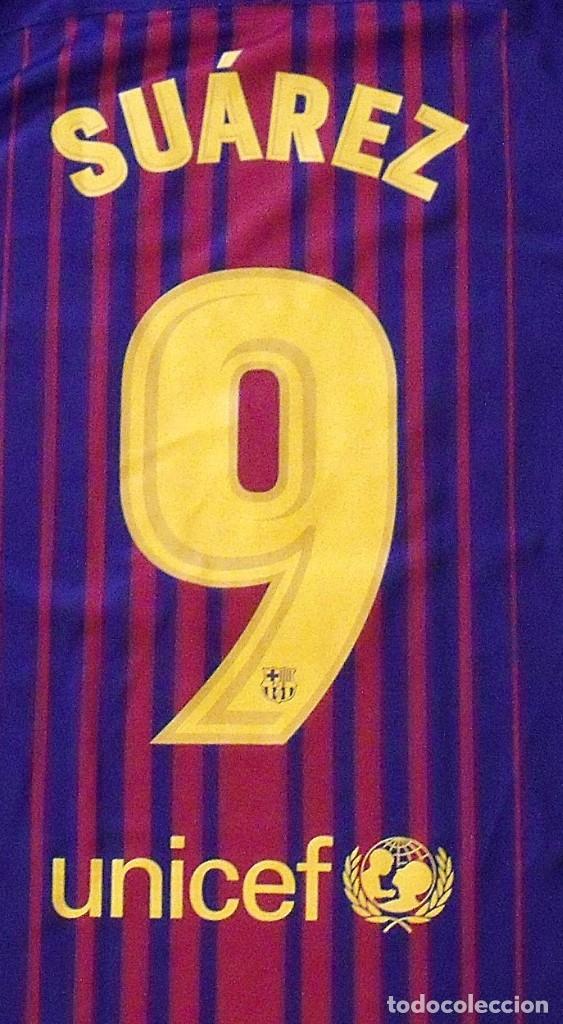 Coleccionismo deportivo: Camiseta F.C. Barcelona. Autógrafo, firma Luis Suárez. Campus 17 Nike. M. Rakuten. Lote 3 camisetas. - Foto 7 - 174140603