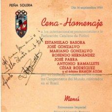 Coleccionismo deportivo: FUTBOL,AUTOGRAFOS 1950,JUGADOR,F.C.BARCELONA,RCD ESPAÑOL,BASORA,RAMELLETS,CESAR RODRIGUEZ,JOSE PARRA. Lote 188489277