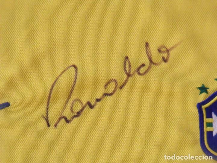 Coleccionismo deportivo: Camiseta Brasil. Firma, autógrafo Ronaldo. Ronaldo Luis Nazário de Lima. Nueva. Nike. Original. - Foto 3 - 194560727