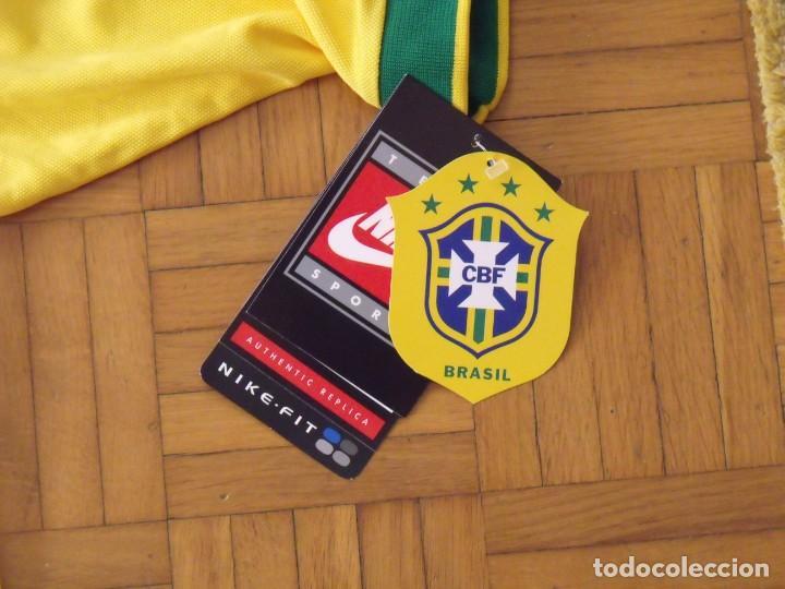 Coleccionismo deportivo: Camiseta Brasil. Firma, autógrafo Ronaldo. Ronaldo Luis Nazário de Lima. Nueva. Nike. Original. - Foto 5 - 194560727
