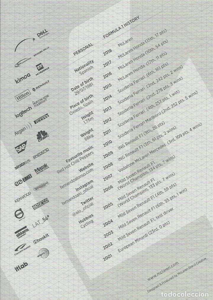 Coleccionismo deportivo: Fernando Alonso. Autógrafo, firma original. McLaren. Renault 2018 Autograph Fórmula 1 Automovilismo. - Foto 2 - 203339020