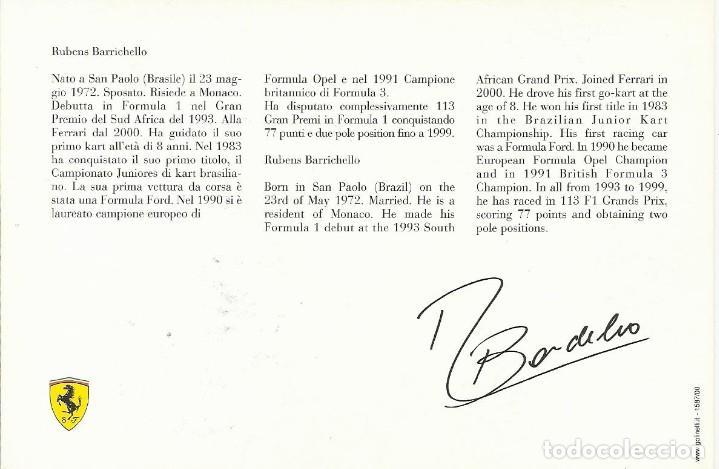 Coleccionismo deportivo: Rubens Barrichello. Autógrafo, firma original. Ferrari. 2000. Autograph. Fórmula 1. Automovilismo. - Foto 2 - 203339688