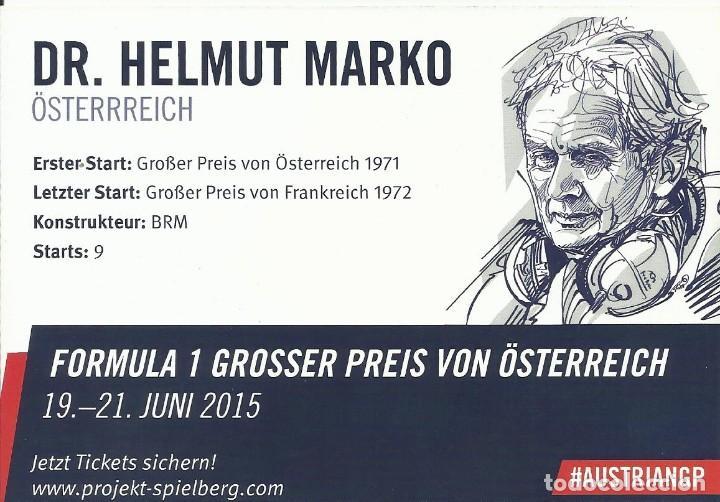 Coleccionismo deportivo: Helmut Marko. Autógrafo. Firma original. Autograph. Automovilismo. Fórmula 1. Austria. - Foto 2 - 205049547