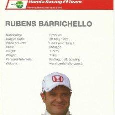 Coleccionismo deportivo: RUBENS BARRICHELLO. AUTÓGRAFO. FIRMA ORIGINAL. AUTOGRAPH. AUTOMOVILISMO. FÓRMULA 1. HONDA.. Lote 205147576