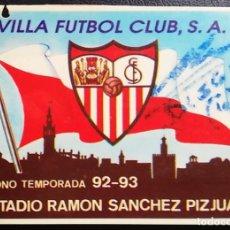Coleccionismo deportivo: CARNET ABONADO SEVILLA FC, FIRMADO POR MARADONA, TEMP 92/93. Lote 205738162