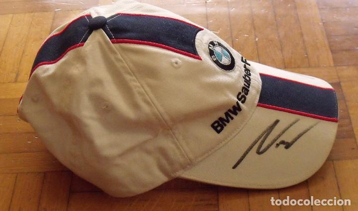 Coleccionismo deportivo: Gorra BMW Sauber. Fórmula 1. España 2007. Autógrafos Sebastian Vettel, Robert Kubica y Nick Heidfeld - Foto 5 - 207817418