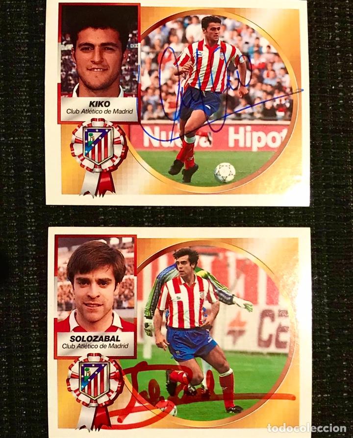 LOTE 2 CROMOS FIRMADOS POR KIKO Y SOLOZABAL - ATLETICO MADRID LIGA 1994 1995 ESTE NUEVO 94 95 (Coleccionismo Deportivo - Documentos de Deportes - Autógrafos)