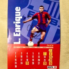 Coleccionismo deportivo: AUTOGRAFO LUIS ENRIQUE FCB BARCELONA FOTO FIRMADA EN CALENDARIO JUNIO 1995 FIRMA AUTENTICA. Lote 209729361