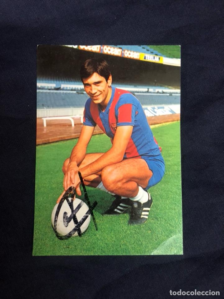 POSTAL FC BARCELONA AUTÓGRAFO LOBO CARRASCO (Coleccionismo Deportivo - Documentos de Deportes - Autógrafos)