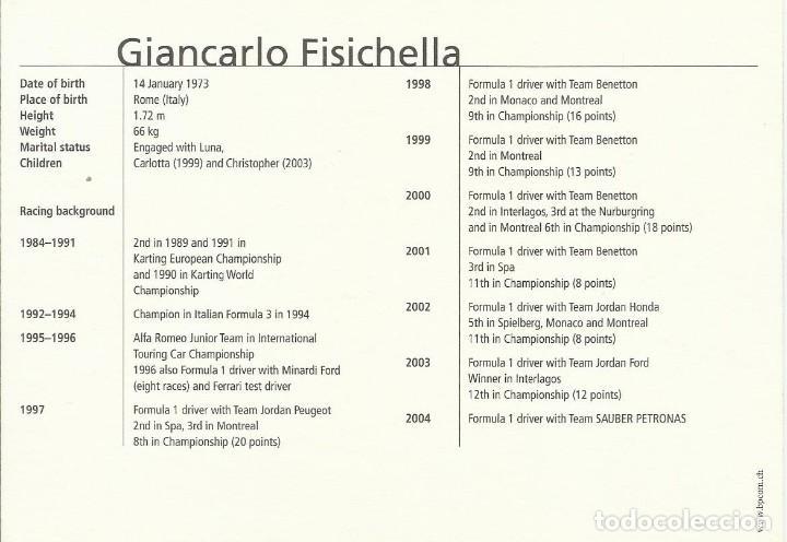 Coleccionismo deportivo: Giancarlo Fisichella Autógrafo, firma original. Automovilismo Autograph. Fórmula 1. Sauber Petronas. - Foto 2 - 209954726